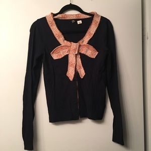 Black button down cardigan with bow